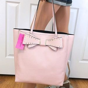 Betsey Johnson Large Pink Bow Tote Bag Purse New